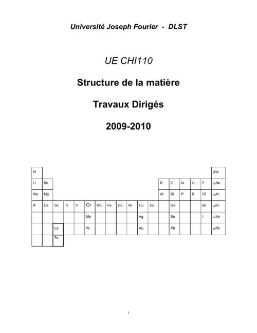 small resolution of universit joseph fourier dlst ue chi110 structure de la mati re travaux dirig s 2009 2010 h 2he li be b c n o f 10ne na mg al si p s cl 18ar