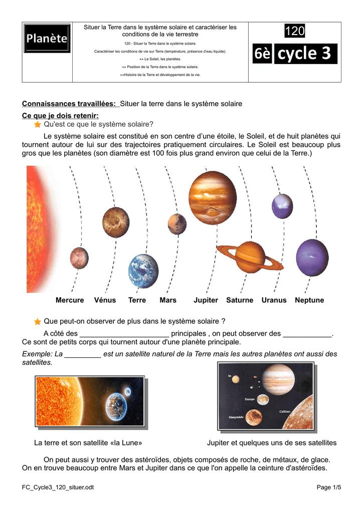 Le Système Solaire Cycle 3 : système, solaire, cycle, Connaissances, Travaillées:, Situer, Terre, Système, Solaire
