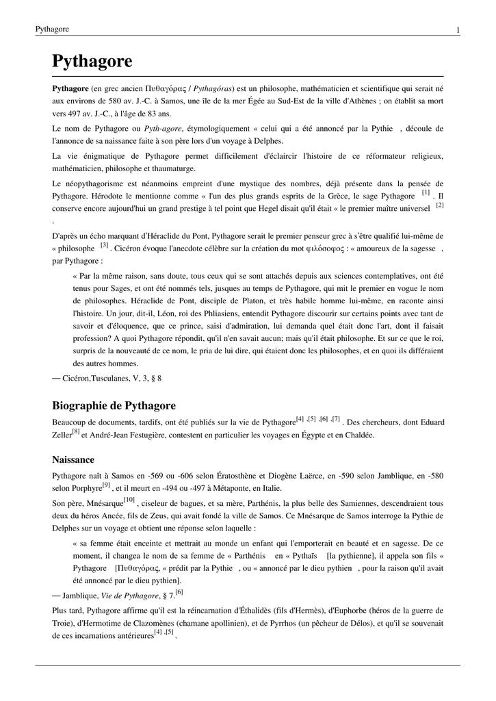 Pythagore ( Article De Wikipédia )