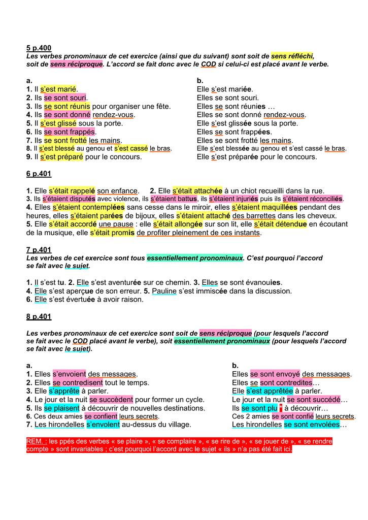 Ils Se Sont Faits Avoir : faits, avoir, P.400, Verbes, Pronominaux, Exercice, (ainsi