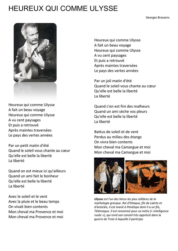 Heureux qui, comme Ulysse...   Poème de Joachim du Bellay
