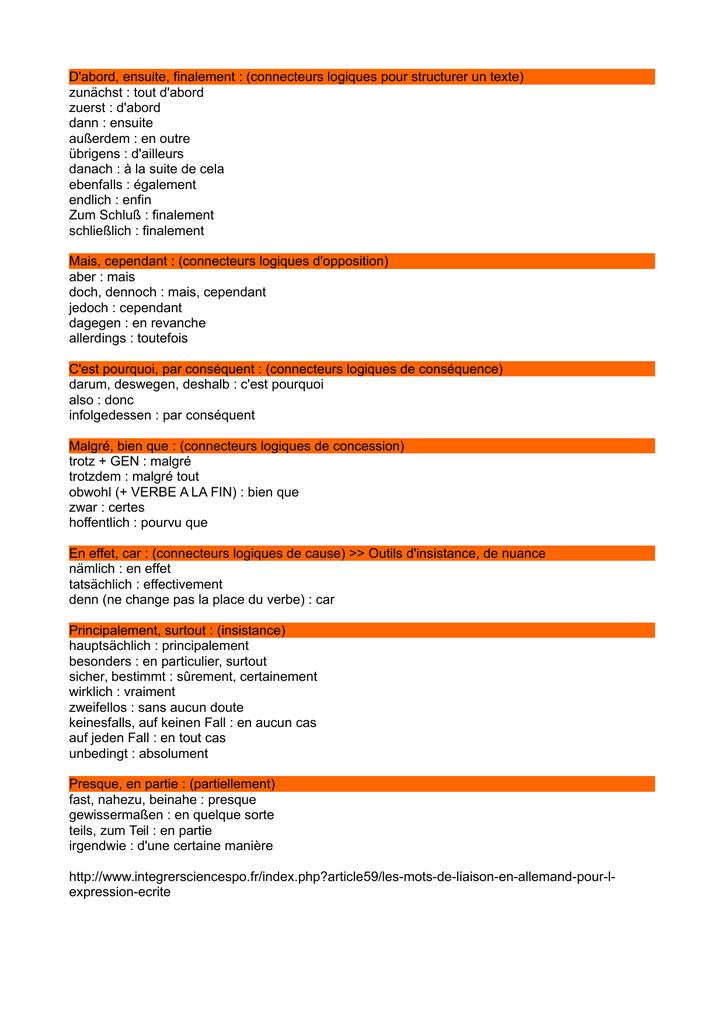 Mot De Liaison Allemand : liaison, allemand, D`abord,, Ensuite,, Finalement, (connecteurs, Logiques, Structurer
