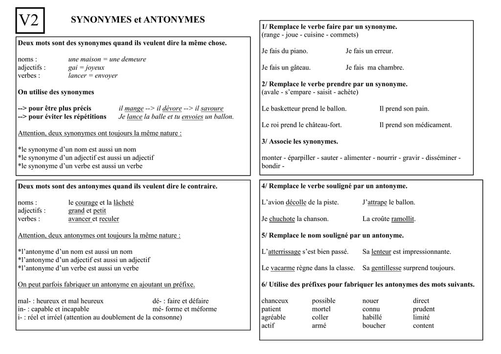 V2 Synonymes et antonymes