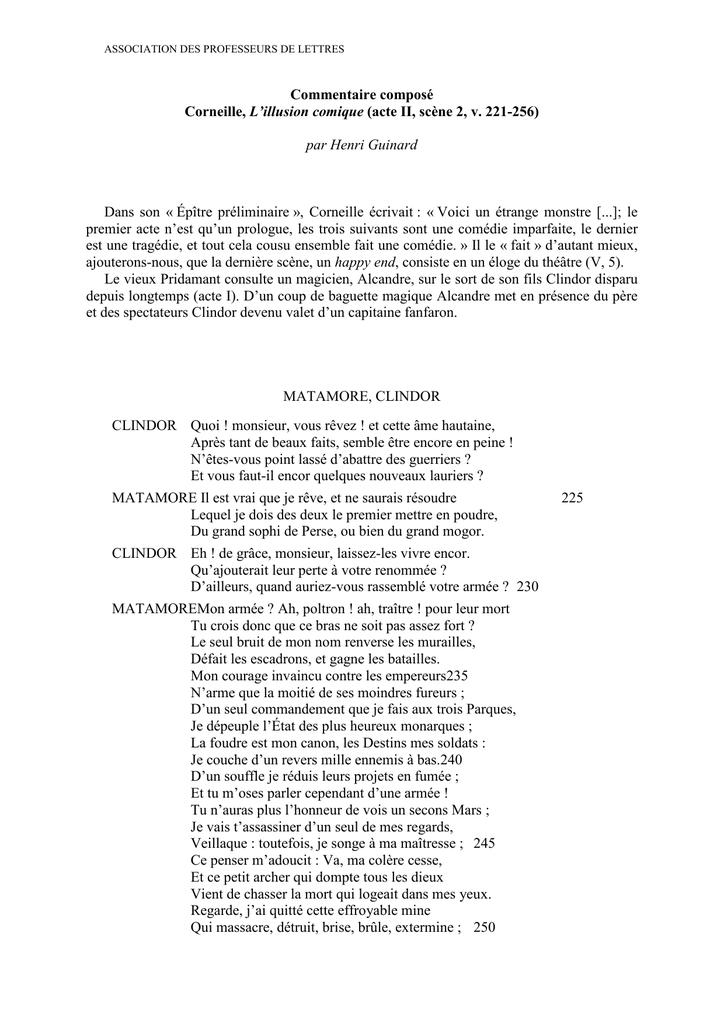 Le Cid Acte 2 Scene 2 : scene, Commentaire, Composé, Corneille,, L`illusion, Comique, (acte, Scène