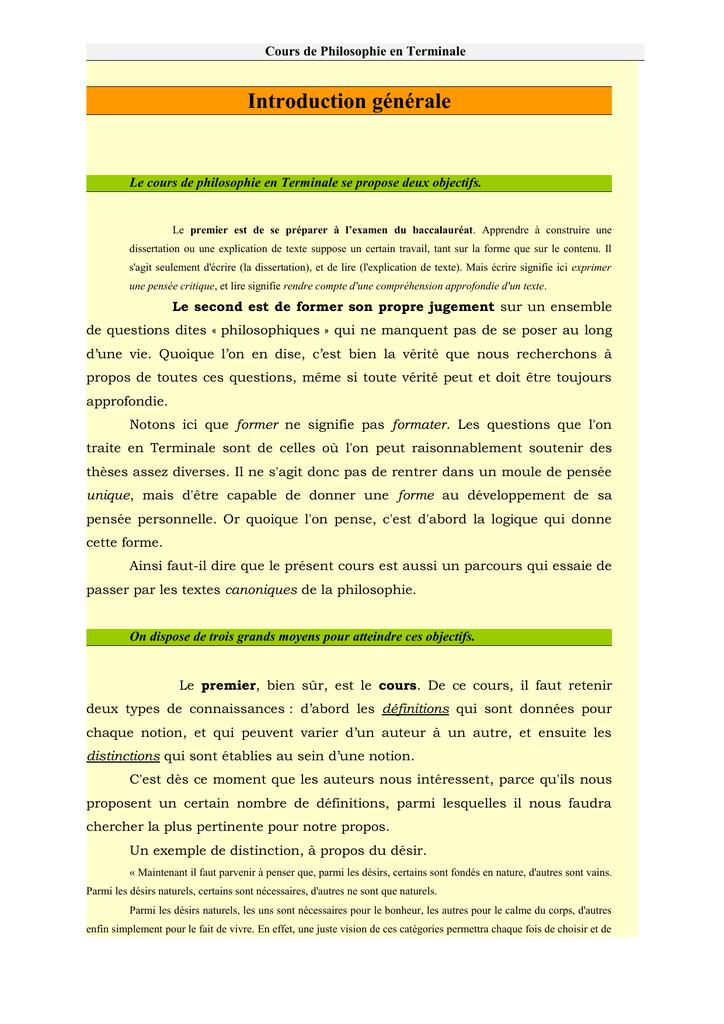 Cours De Philosophie Terminale L : cours, philosophie, terminale, Introduction, Générale, COURS, PHILOSOPHIE