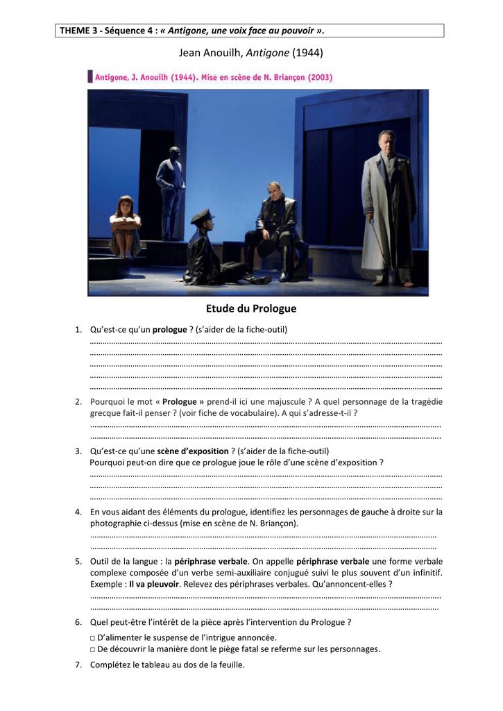 Qu'est-ce Qu'un Prologue : qu'est-ce, qu'un, prologue, Anouilh,, Antigone, (1944), Etude, Prologue