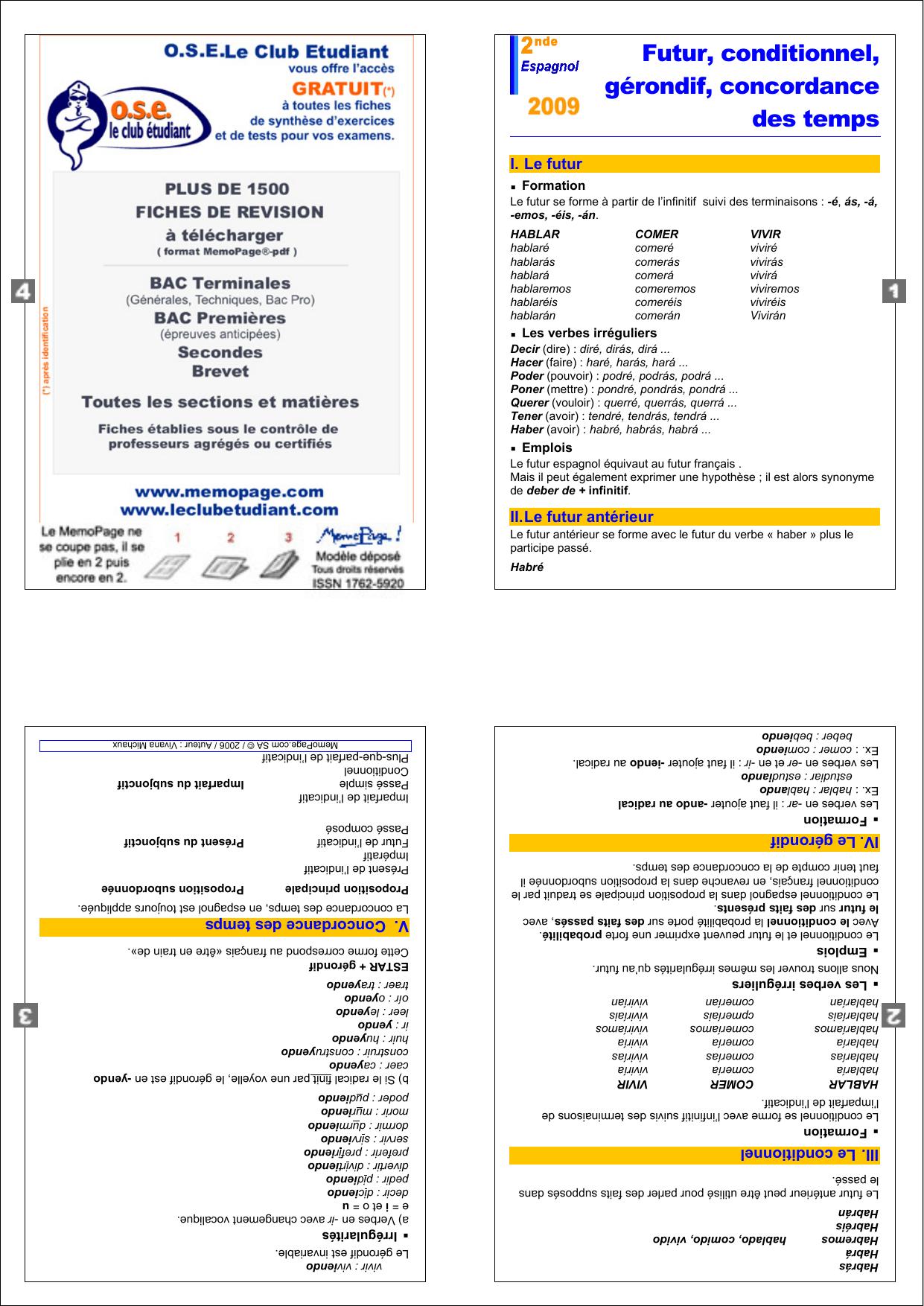 La Concordance Des Temps En Espagnol : concordance, temps, espagnol, Futur,, Conditionnel,, Gérondif,, Concordance, Temps