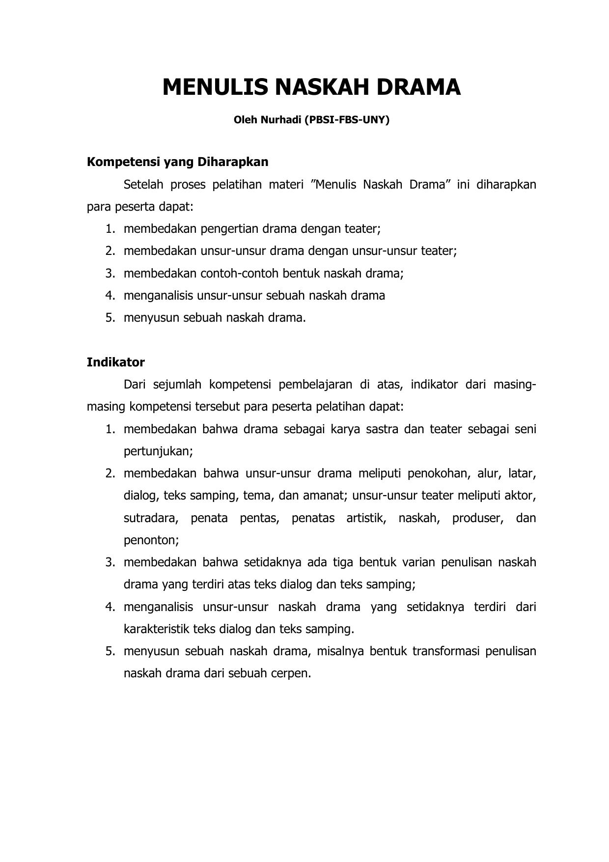 Unsur Unsur Teater : unsur, teater, Menulis, Naskah, Drama
