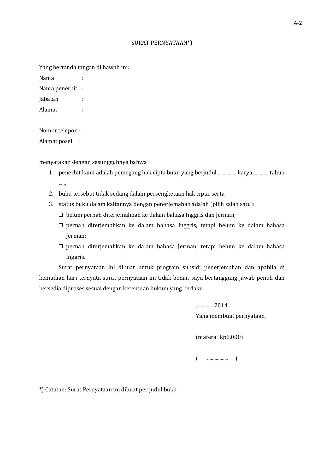 Surat Pernyataan Dalam Bahasa Inggris : surat, pernyataan, dalam, bahasa, inggris, Surat, Pernyataan, Pengajuan, Subsidi