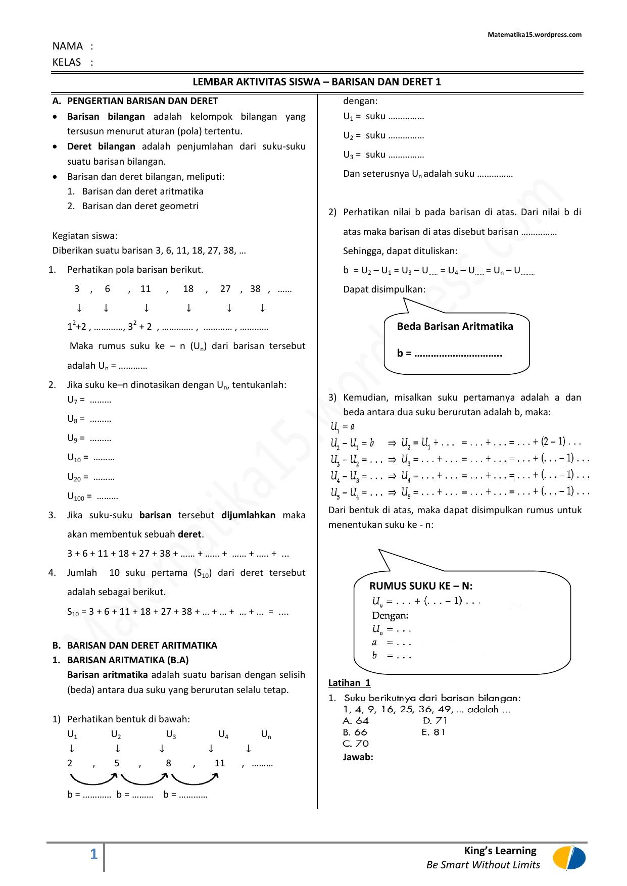 Pengertian Barisan Aritmatika : pengertian, barisan, aritmatika, BARISAN, DERET, Barisan, Aritmatika