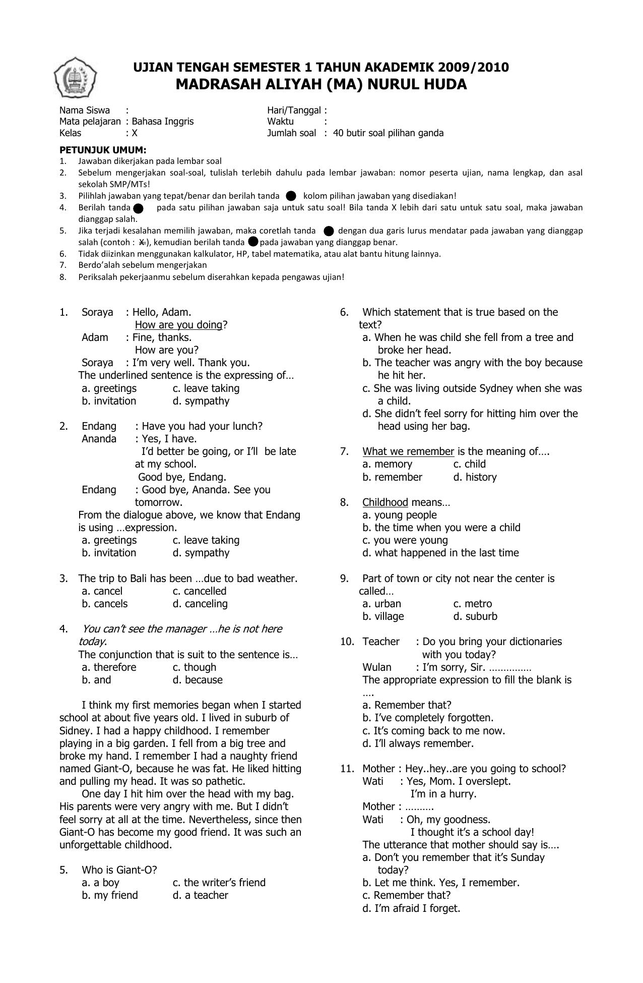 Soal Bahasa Inggris Kelas 10 Semester 2 : bahasa, inggris, kelas, semester, 44901171-Soal-Bahasa-Inggris-Kelas-10