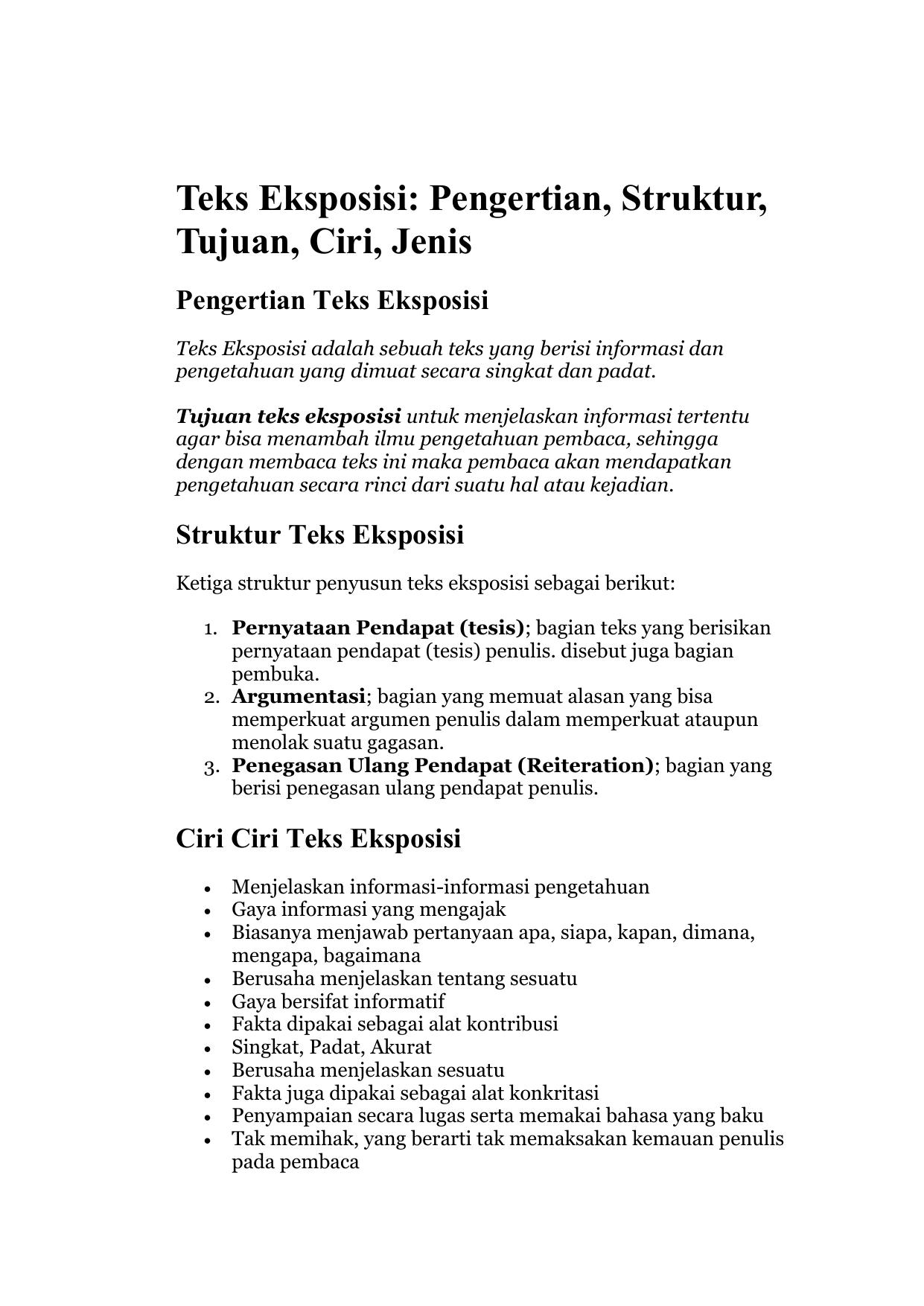 Struktur Teks Argumentasi : struktur, argumentasi, Eksposisi