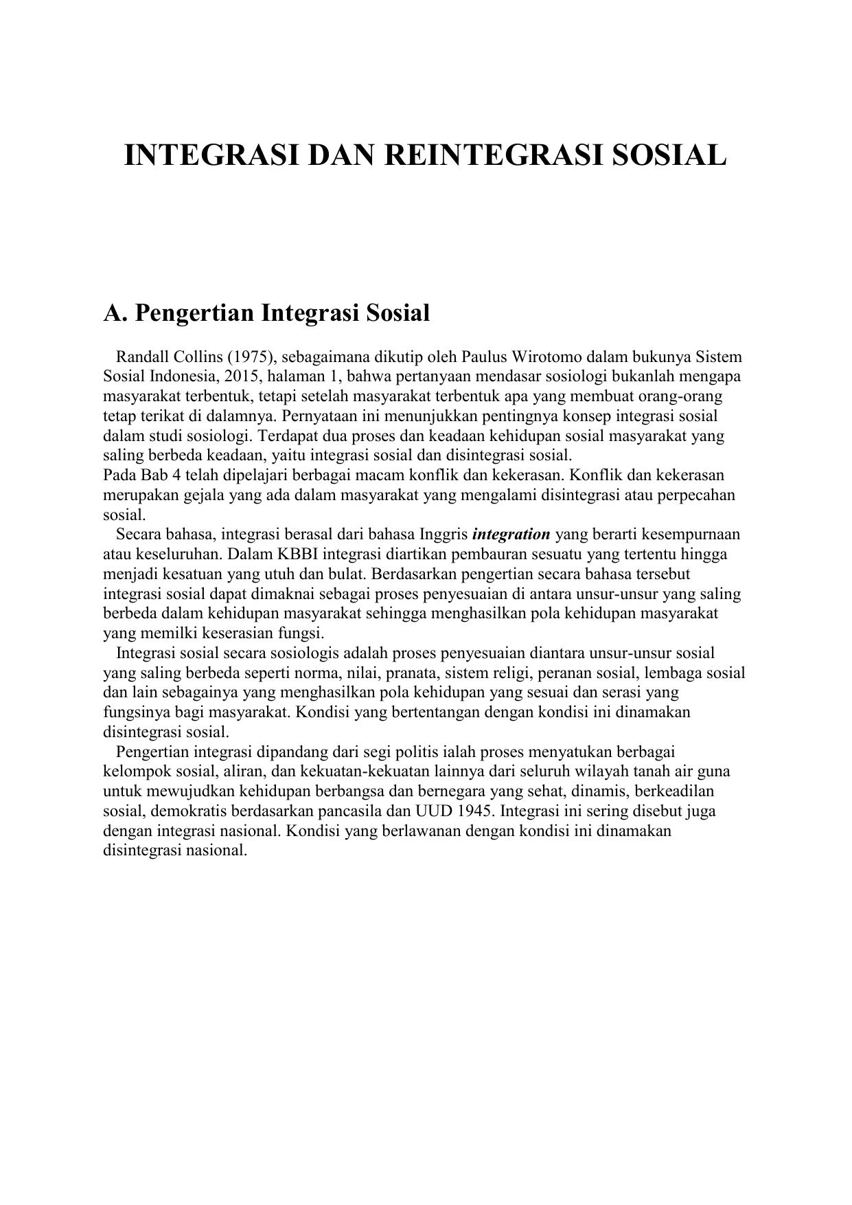 Tuliskan Bentuk-bentuk Integrasi Sosial : tuliskan, bentuk-bentuk, integrasi, sosial, INTEGRASI, REINTEGRASI, SOSIAL