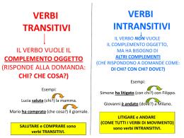 Verbi transitivi e verbi intransitivi