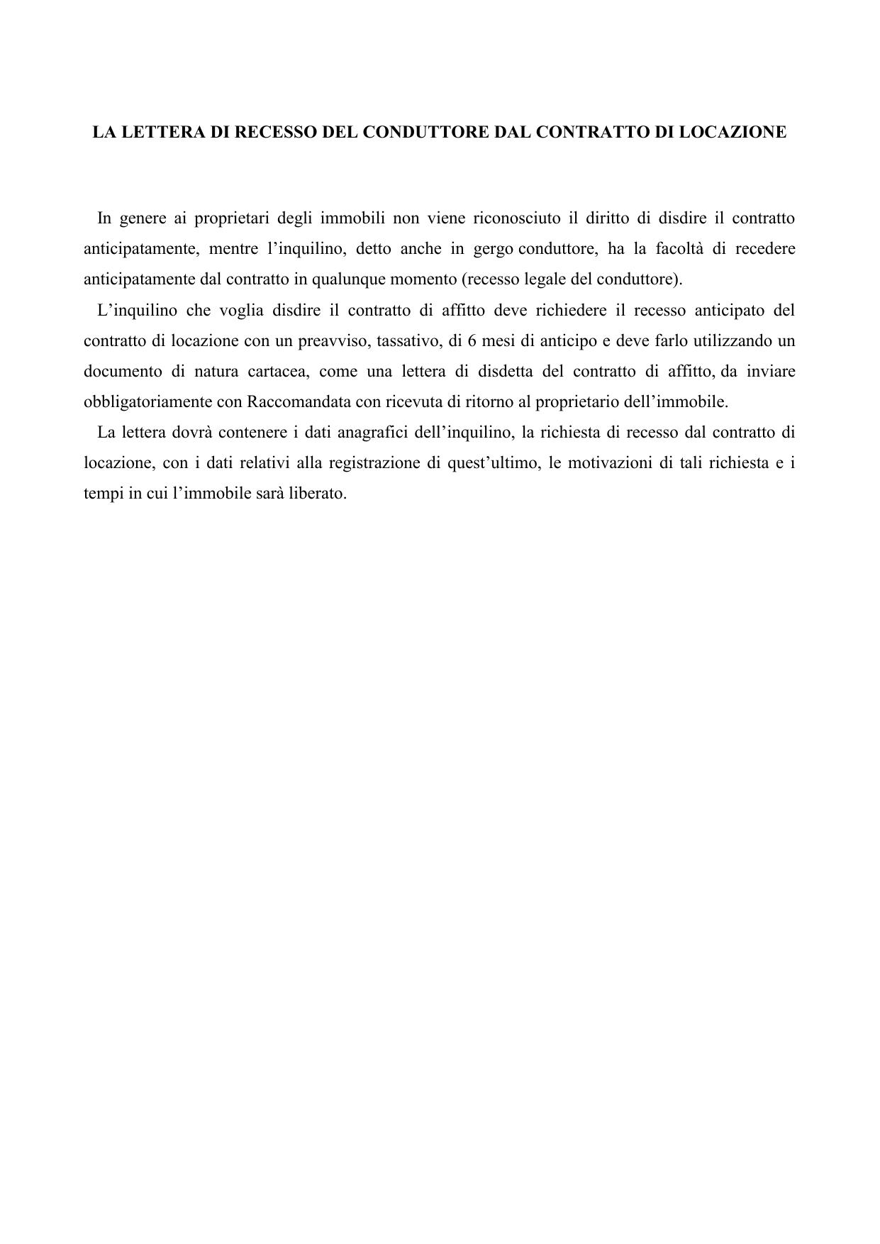 Lettera Di Disdetta Del Conduttore Del Contratto Di