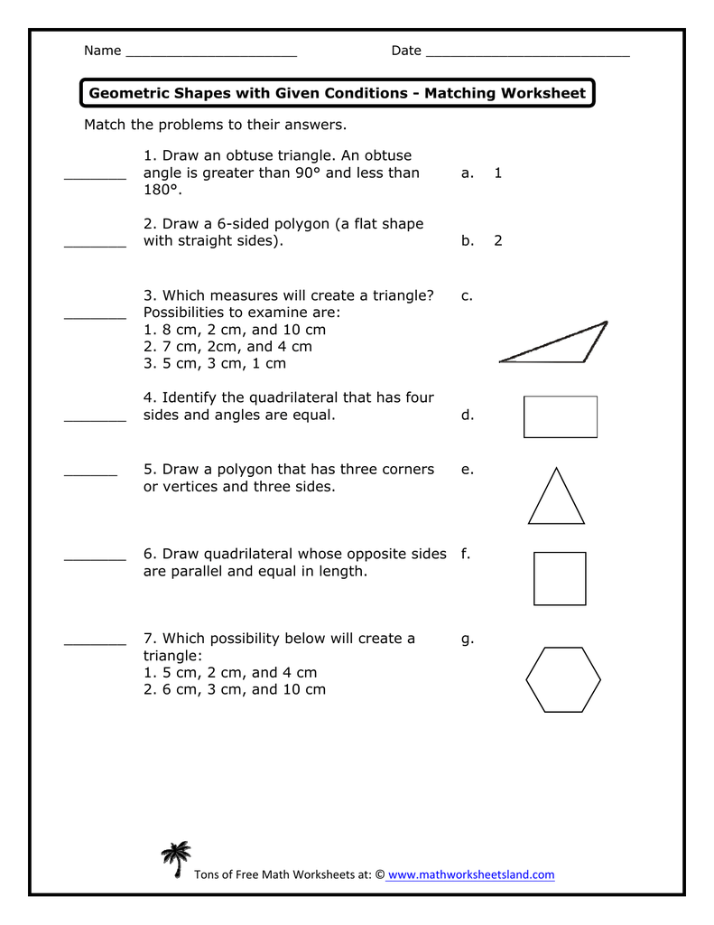 medium resolution of Geometric Shapes with Given Conditions Matching Worksheet
