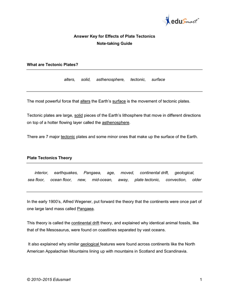 medium resolution of The Theory Of Plate Tectonics Worksheet Answers - Promotiontablecovers