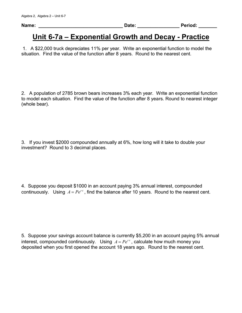 Exponential Growth And Decay Worksheet Answer Key Algebra 2 : exponential, growth, decay, worksheet, answer, algebra, Exponential, Growth, Decay