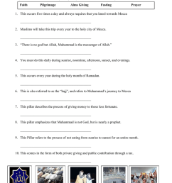 Five Pillars of Islam Worksheet [ 1024 x 791 Pixel ]