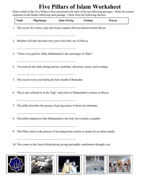 small resolution of Five Pillars of Islam Worksheet