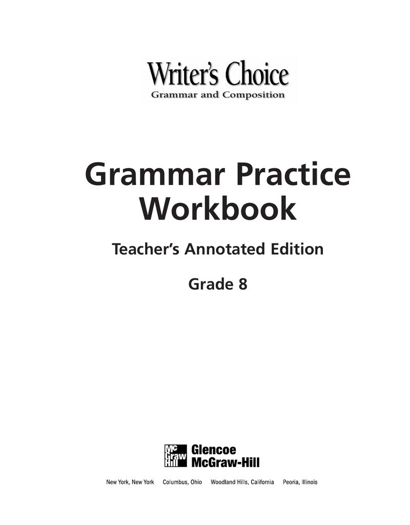 medium resolution of Grammar Practice Workbook