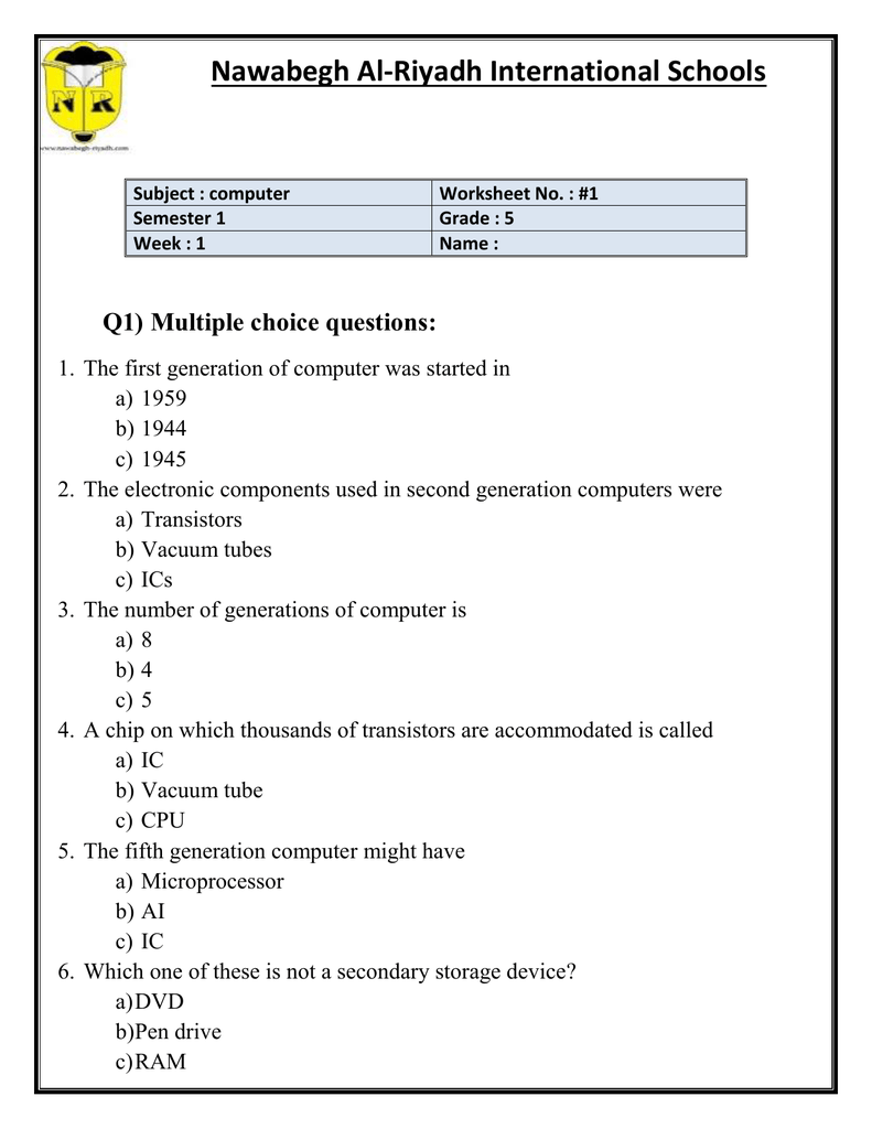 medium resolution of Nawabegh Al-Riyadh International Schools Subject : computer