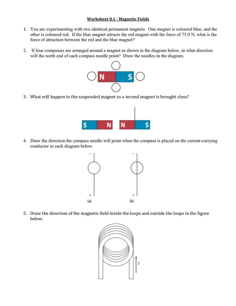 medium resolution of Worksheet 8.1 - Magnetic Fields