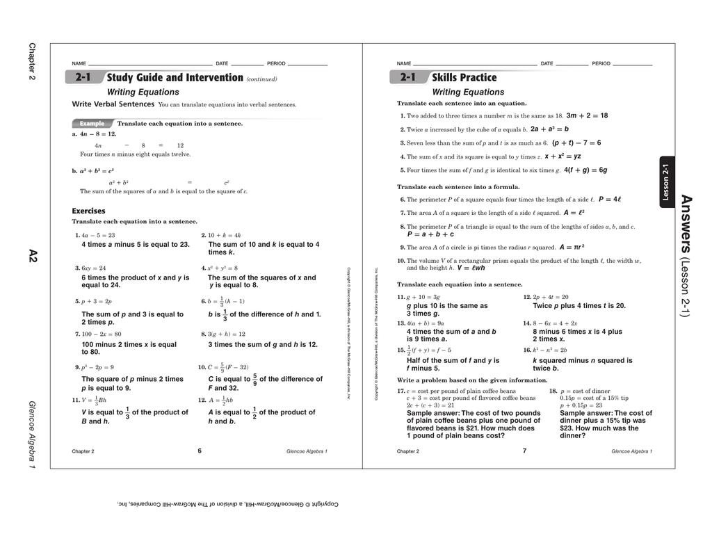 hight resolution of CH 2 Homework ANSWERS - Mrs. Henderson`s Math Class