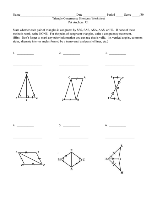 small resolution of Congruence And Triangles Worksheet Answers - Promotiontablecovers