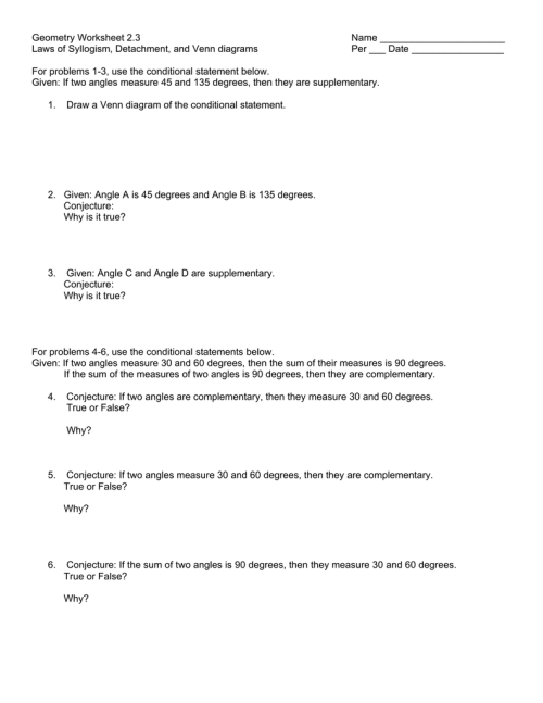 small resolution of Geometry Worksheet 2.3 Name Laws of Syllogism