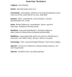 Brain Pop! Worksheet religions [ 1024 x 791 Pixel ]