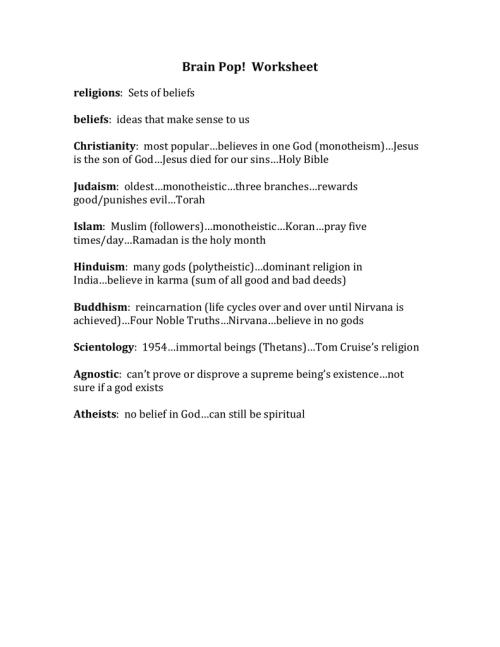small resolution of Brain Pop! Worksheet religions