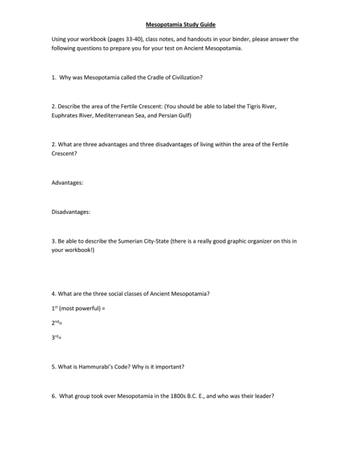 small resolution of Chapter 3 Mesopotamia Study guide - 6th Grade History