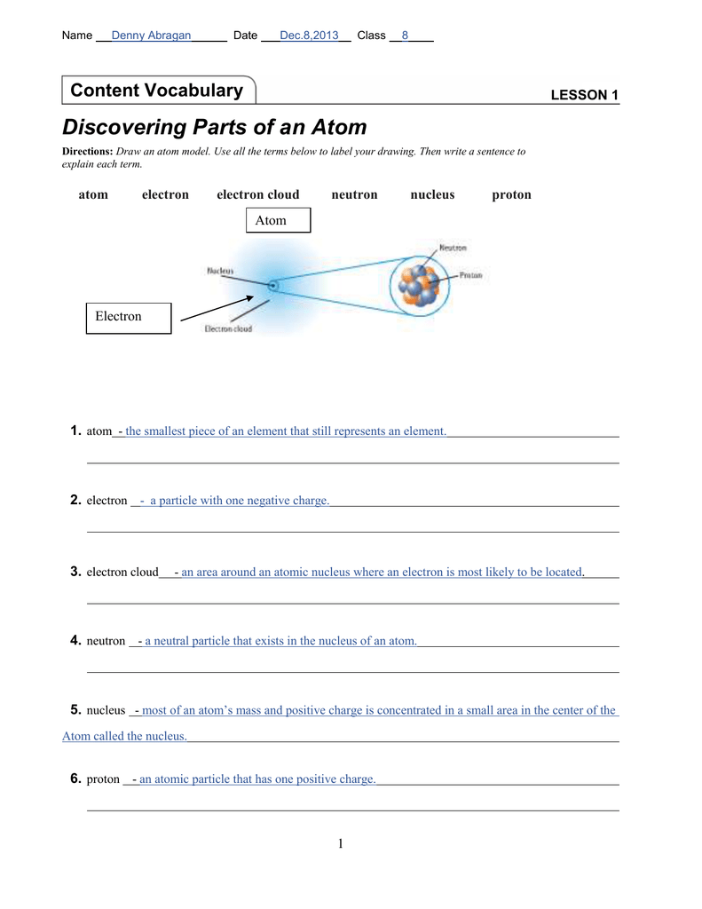 hight resolution of Lesson 1   Discovering Parts of an Atom - Denny`s E
