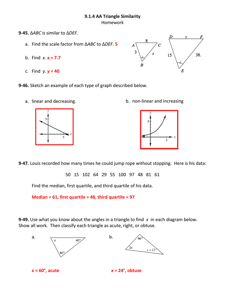 medium resolution of 9.1.4 AA Triangle Similarity Homework 9