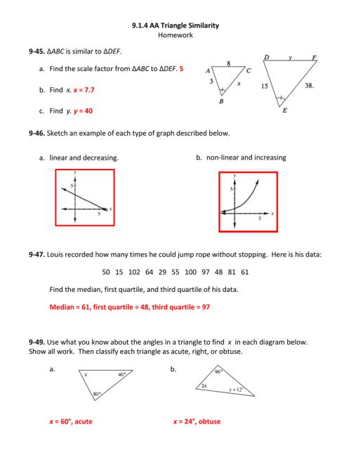 small resolution of 9.1.4 AA Triangle Similarity Homework 9