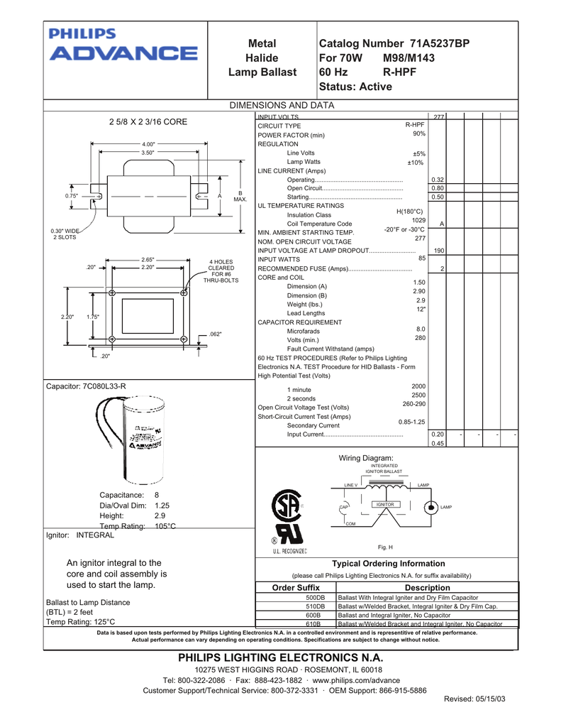 medium resolution of  ballast wire metal halide lamp ballast catalog number 71a5237bp for 70w on ballast cross reference ballast system m90 ballast wiring diagram