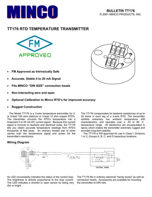 small resolution of minco tt176 rtd temperature transmitter rtd wire colors minco rtd wiring diagram