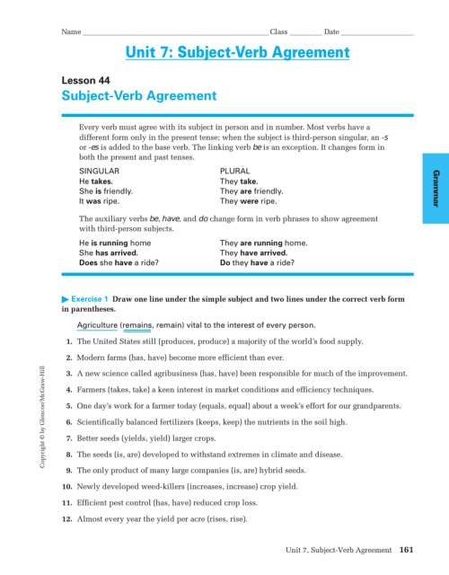 small resolution of Unit 7: Subject-Verb Agreement Subject-Verb Agreement Lesson 44