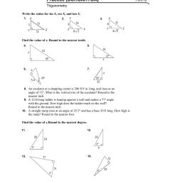 Name Class Date Practice (SOHCAHTOA) Form G Trigonometry [ 1632 x 1240 Pixel ]