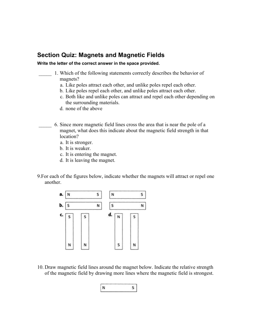 medium resolution of Section Quiz: Magnets and Magnetic Fields