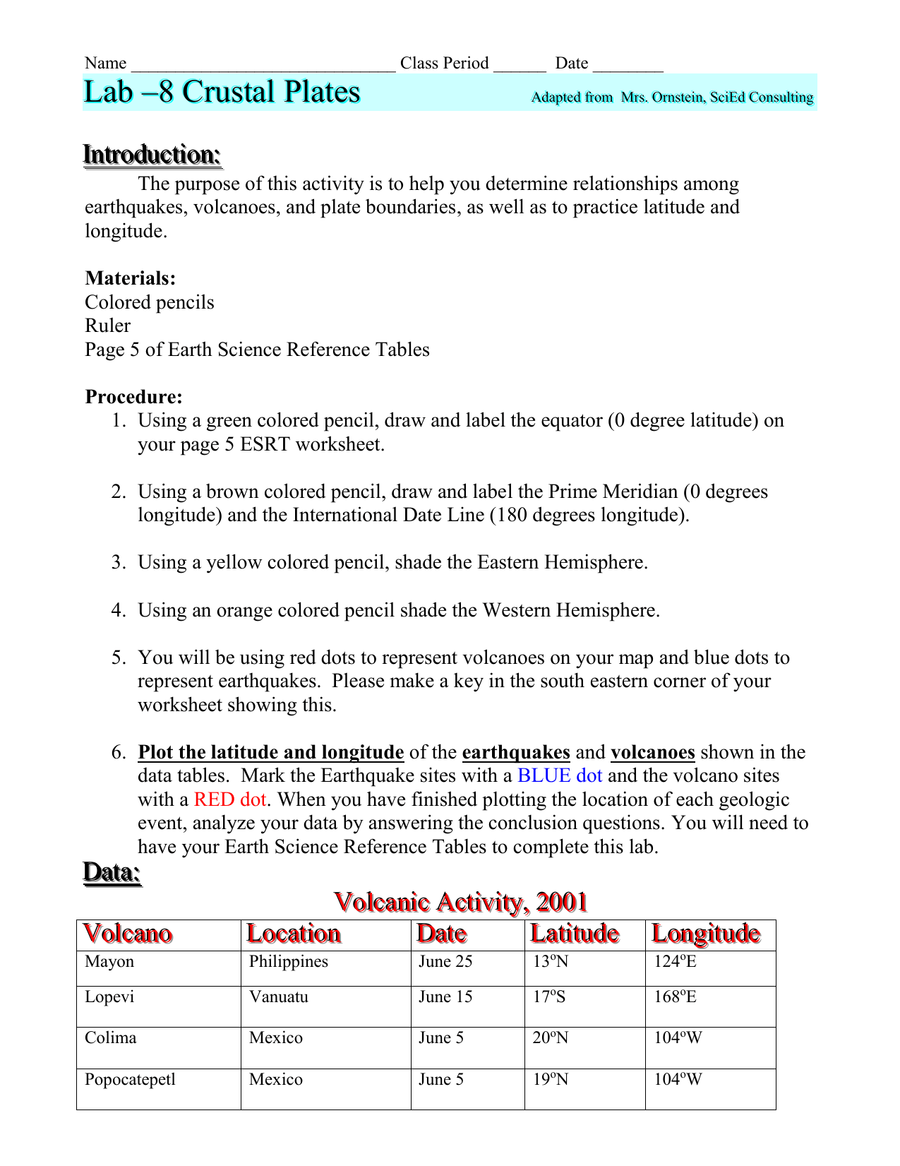 Latitude And Longitude Practice Worksheet Answers