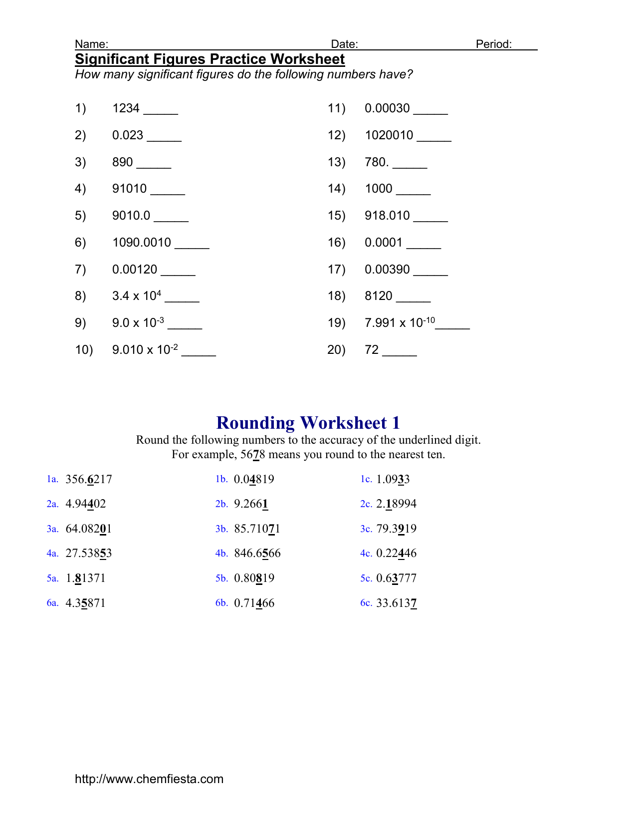 Chemfiesta Significant Figures Worksheet Answers