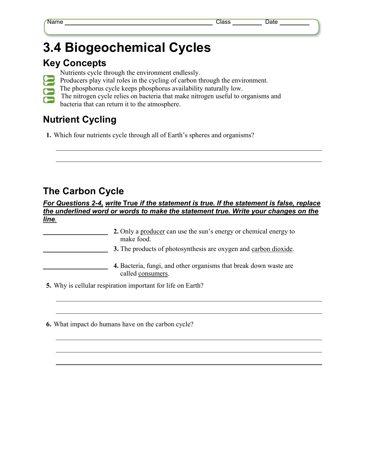 Cycles Worksheet Carbon Cycle Answers