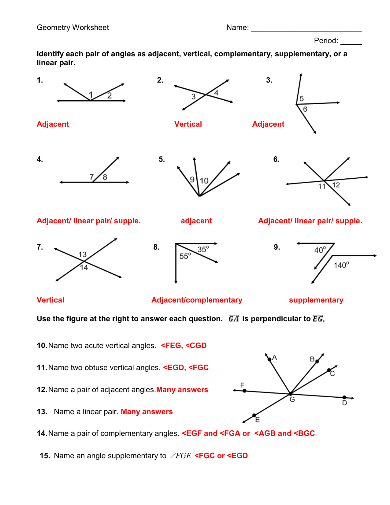 hight resolution of Identify each pair of angles as adjacent