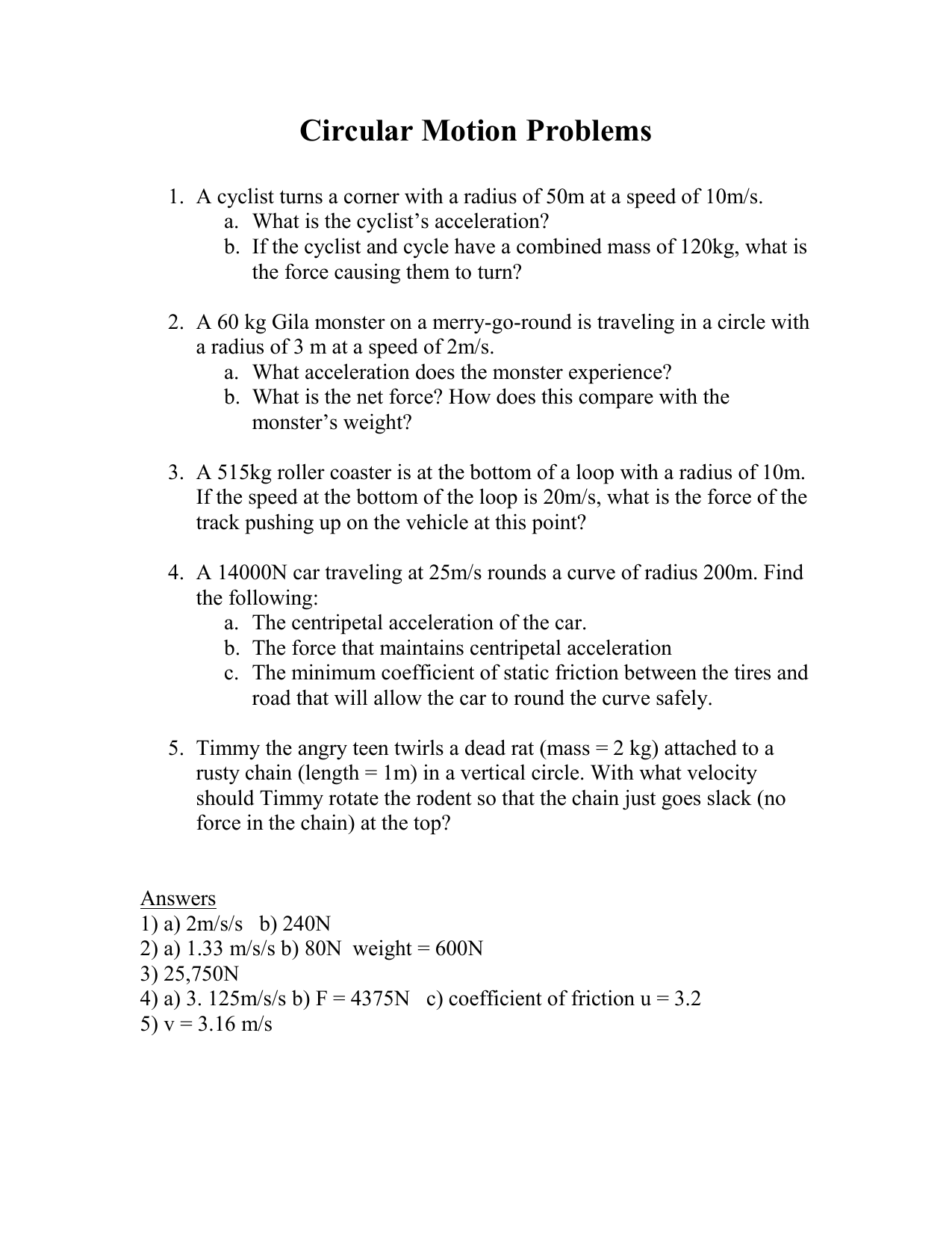 Motion Problems Worksheet