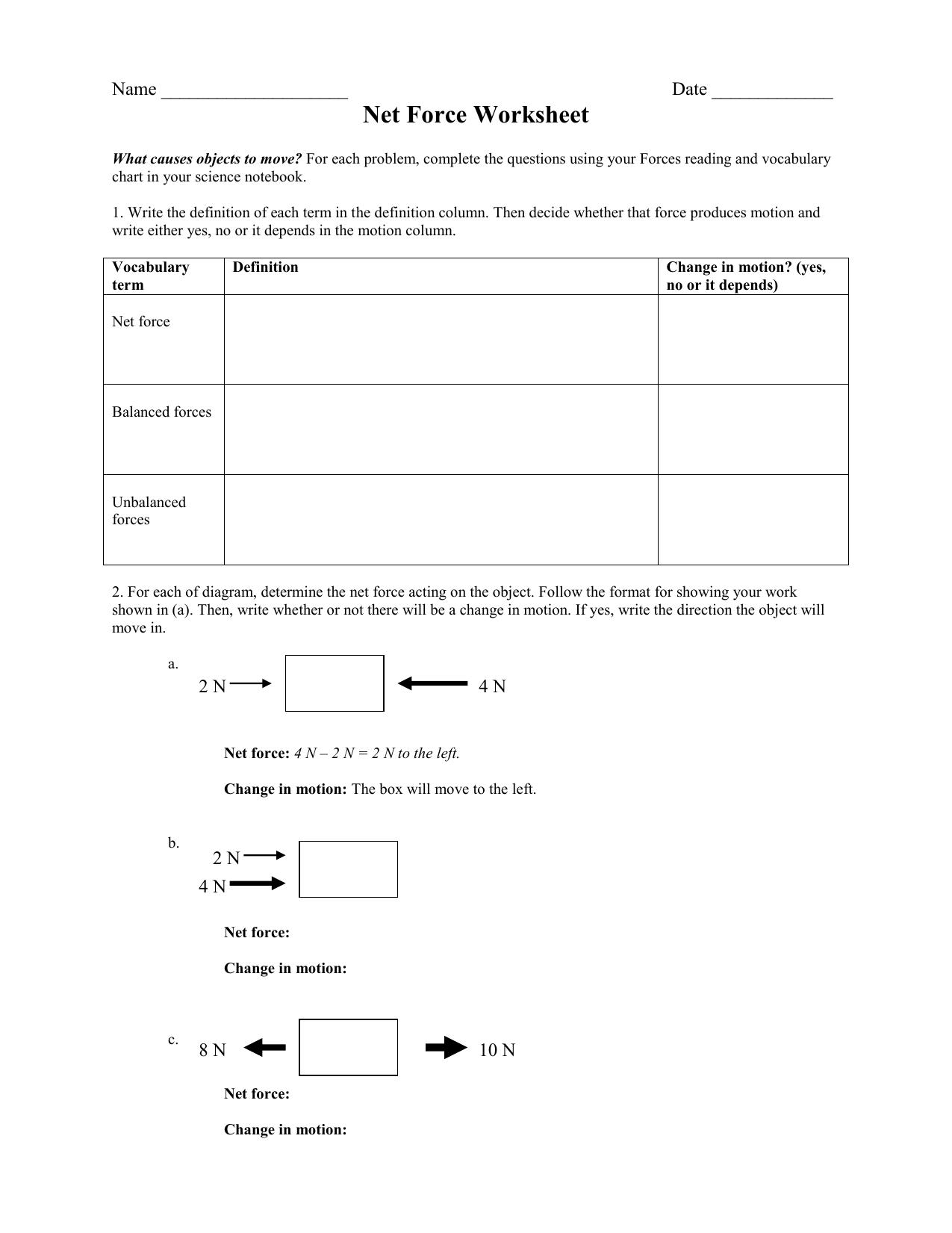 Worksheet Net Force Worksheet Worksheet Fun Worksheet
