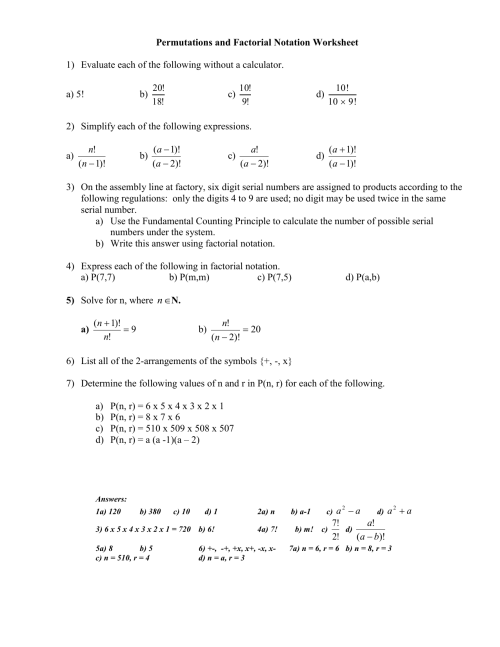 small resolution of Permutations and Factorial Notation Worksheet