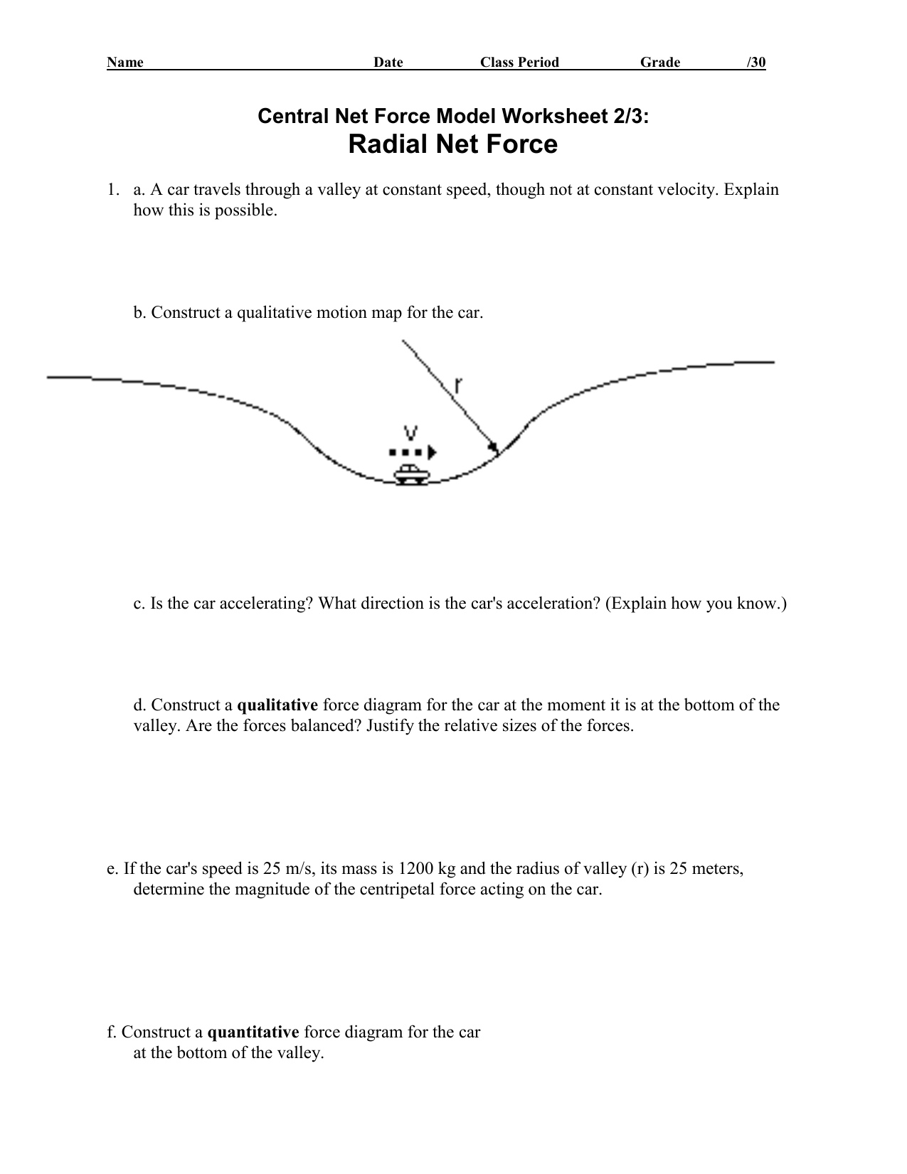 Circular Motion Worksheet With Answers
