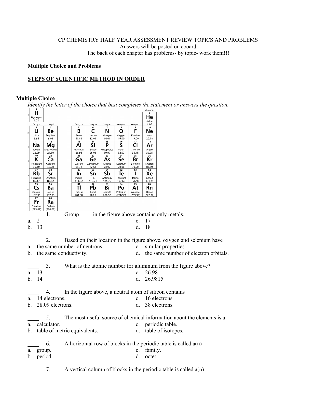 Section 3 The Periodic Table Worksheet Answers